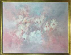 Gloria Rosenthal, Pastel Daisies, Acrylic On Canvas, Signed Lower Left