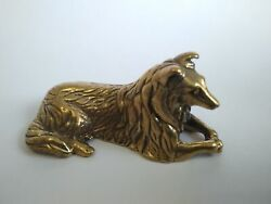 Collie dog a bronze collie dog figurine metal collie figurinelovely dog