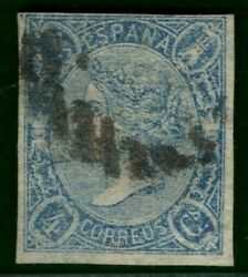 Spain Scott.68 4c Blue 1865 Fine Used Unpriced Cat 2750+ For Unused Gold144