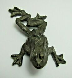 Rh Co Antique Cast Iron Figural Frog Paperweight Decorative Art Small Statue
