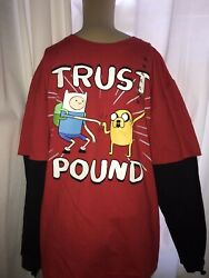 CN Adventure Time Finn and Jake Kids T Shirt Youth XL Red Black quot;Trust Poundquot; $10.99