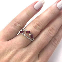 0.9 Ctw Natural Red Baguette Ruby Diamond Solid 14k White Gold Engagement Ring