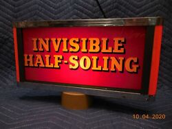 Invisible Halfsoling Shoe Repair Lighted General Store Advertising Sign
