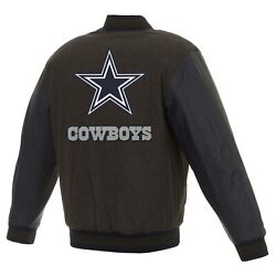 Nfl Dallas Cowboys Jh Design Wool And Leather Reversible Jacket Embroidered Logos