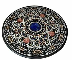 48'' Black Marble Dining Coffee Table Top Decor Home Inlay Antique Pietra Dura