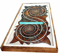 5and039x2.5and039 White Marble Coffee Dining Table Top Inlay Lapis Mosaic Home Decor W154