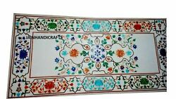 3and039x2and039 White Marble Table Top Center Coffee Mosaic Lapis Inlay Home Decor Antique