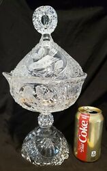 Hofbauer Bleikristall Lead Crystal The Byrdes Bird Collection Covered Candy Dish