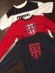 Vintage Lot Of 3 Merc London - T Shirts Ringer Short And Long Sleeve Size L
