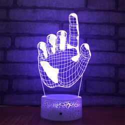 Hand Finger 3d Illusion Led Lamp Touch Switch Table Desk Night Light Kids Gift