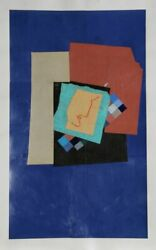 Sol Abstract Brown On Blue Oil And Collage On Paper Signed And Dated