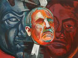 Ernst Neizvestny Triple Self-portrait Lithograph Signed In Pencil