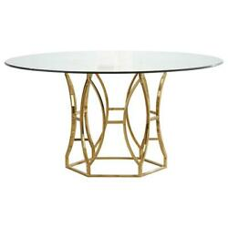 Best Master Luna 60 Stainless Steel And Glass Round Dining Table In Gold