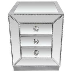 Best Master Solid Wood And Mirrored Glass Living Room End Table In Silver