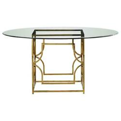 Best Master Alexis 54 Stainless Steel And Glass Round Dining Table In Gold