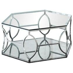 Best Master Brooke Hexagonal Clear Glass And Steel Frame Coffee Table In Silver