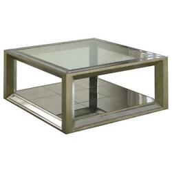 Best Master Pascual Solid Wood Coffee Table In Dull Gold With Antique Mirrored