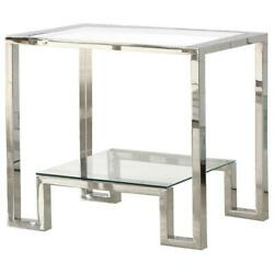 Best Master Glacier Point Clear Glass And Stainless Steel End Table In Silver