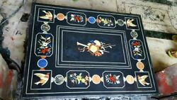 4'x3' Black Marble Table Top Coffee Center Inlay Lapis Mosaic Home Decor F110