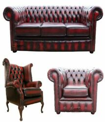 Chesterfield 3 Seater +wing Chair +club Chair Sofa Antique Oxblood Real Leather