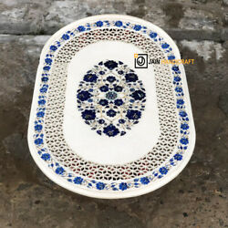 52x32'' White Marble Coffee Dining Table Top Pietra Dura Inlay Mosaic Arts