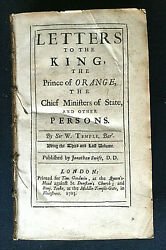 Letters To The King The Of Orange Etc Sir W. Temple Rare 1st Edn 1703