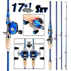 2.4m Carbon 4 Pieces Fishing Rod W/18bb Baitcasting Reel Freshwater Right Hand