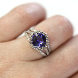 3.2 Ctw Natural Violet Tanzanite And Diamond Solid 14k White Gold Engagement Ring