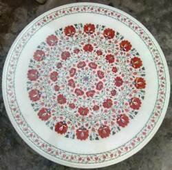 3and039 Round White Marble Table Top Dining Coffee Center Inlay Malachite Home Decor