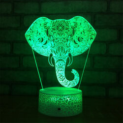 Elephant Head 3d Illusion Led Lamp Touch Switch Table Desk Night Light Kids Gift