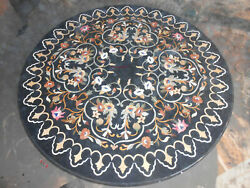 4' Black Marble Table Top Inlay Pietra Dura Handmade Work For Home Decor Gifts