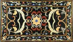 5and039x3and039 Black Marble Center Dining Table Top Inlay Pietradura Work Home