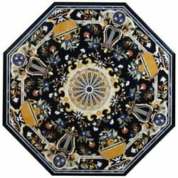 42and039and039 Black Marble Center Table Top Inlay Pietra Dura Handmade Work Home Decor