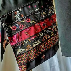 Coldwater Creek Size 8 Jacket Asian Silky Black Open Front Beautiful See Photos