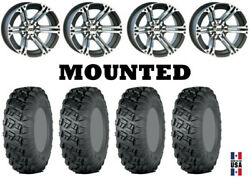 Kit 4 Itp Versa Cross Tires 28x10-14 On Itp Ss212 Machined Wheels Can