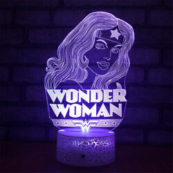 Wonder Woman 3d Illusion Led Lamp Touch Switch Table Desk Night Light Kids Gift