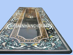 5and039x2.5and039 Black Marble Table Top Coffee Dining Center Inlay Malachite Decor S120