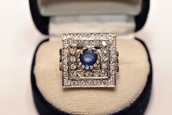 Art Deco Style New Made 14k Gold Natural Diamond And Sapphire Decorated Ring