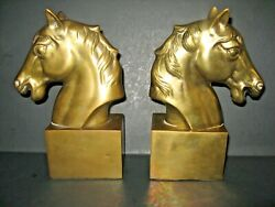 Vintage Large Brass Horse Head Bookends Equestrian