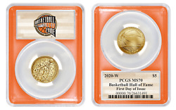 2020 W Basketball Hall Of Fame Gold Dollar 5 Pcgs Ms70 First Day Of Issue