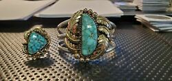 Old Pawn Navajo 14k Gold And Sterling W/ Turquoise Cuff And Ring Sz 8.5 Nat500