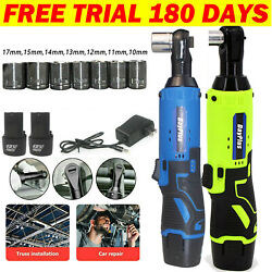 3/8and039and039 Cordless Ratchet Right Angle Wrench Impact Power Tool 2 Battery And 7 Socket