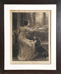 Herbert Thomas Dicksee Femme And039holdingand039 Chiot Gravure Signandeacutee En Crayon