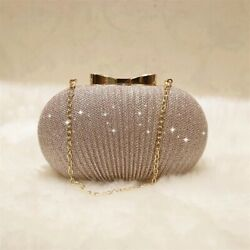 women Golden Evening Clutch Wedding Shiny Handbags Bridal Metal Bow Shoulder bag $14.00