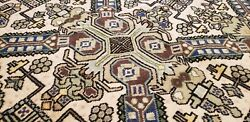 Antique 1940and039s Wool Pile Sage Green Dye Legendary Armenian Area Rug 5x7ft