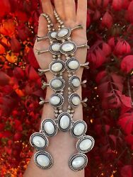 Vintage Native American Sterling Silver Mother Of Pearl Squash Blossom Necklace