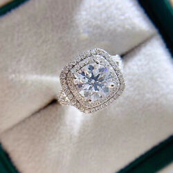 2.80 Tcw Round Cut Dvvs Moissanite Halo Engagement Ring In 14k White Gold Plated