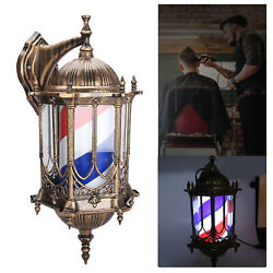 Barber Shop Pole Red Blue White Rotating Light Strips Sign Hair Salon Wall-mount