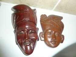 Chinese Ands.e.asian Carved Wooden 12.7cm And 15.3cm Wall Face Mask With Head Dress