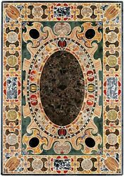 4and039x2.5and039 Marble Table Top Black Dining Coffee Mosaic Multi Inlay Room Decor